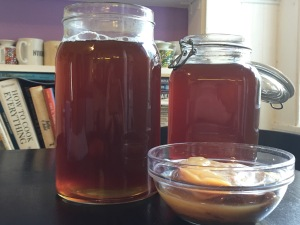 Sugared tea and SCOBY for Kombucha